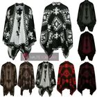 LADIES NEW KNITTED REVERSABLE AZTEC PATTERN SHAWL PONCHO BLANKET WRAP