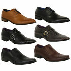 mens formal shoes Belide leather look italian pointed lace up slip on buckle new