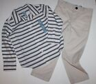 baby Gap NWT Boy Outfit Set Striped Oxford Shirt & Stone Ivory Chino Pants