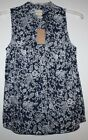 GH Bass NWT Women's M Loose Fit Blouse Navy Blue w/ White Print & Button Placket
