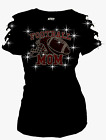 bling football - Bling Bling FootBall Mom Helmet Ball RHINESTONE Shirt Ripped Cut Out S~3X Short