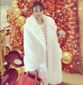 Womens Thick Real Fur Trench Parka Slim Mid Long Outwear kroean Fashion Jacket