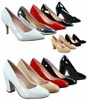 Women's Fashion Chunky High Heel Pointed Toe High Classic Pumps Size 6 - 11 NEW