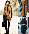 Boho Oversized Chunky Cable Knit Extra Long Fringe Pocket Winter Scarf Bohemian