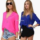 Sheer Summer Womens Sexy Long Sleeve Casual V-Neck Loose Blouse Tops N98 01