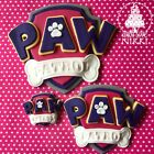 PAW PATROL PINK LOGO SHEILD Large Medium small edible icing cupcake cake topper