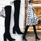 Womens Chunky High Heel Over Knee Boots Pointed Toe Side Zip Casual Shoes