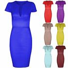 NEW WOMEN LADIES SLIT TOP DRESS BODYCON SMART LOOK WORK SHIFT DRESSES MIDI SKIRT