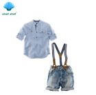 New Baby Boys Clothing Sets Fashion kids clothes Suit Shirt + jeans + straps