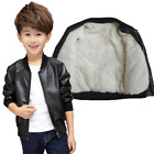 new baby boys coat winter thick velvet pu leather jacket fashion warm clothes