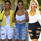 US STOCK Ladies Denim Stretch Ripped Hole Washed Distressed Short Jeans Shorts