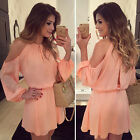 Sexy Women Summer Casual Long Sleeve Party Evening Cocktail Short Mini Dress HE