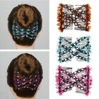 Fashion Magic Elasticity Double Beads Hair Comb Clip Stretchy Women Accessories