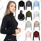 New Womens High Polo Neck Long Sleeve Cable Knitted Warm Crop Jumper Sweater Top