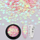Pink Silver Nail Art Glitter Sequins AB Color Iridescent Star Heart Round Flakes