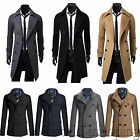 Men Trench Coat Jacket Double Breasted Stylish Slim Fit Outwear Overcoat Peacoat