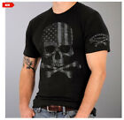 American Flag Faded in Skull & Crossbones 2nd Amendment Support Crew Shirt L1001