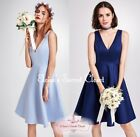 CAMILLA 50's Satin Bridesmaid Wedding Knee Length Dress UK 8-20 Navy / Pale Blue