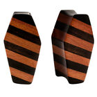 PAIR ORGANIC Areng & Sawo Wood Unique Striped COFFIN Double Flared Plugs Flesh