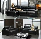 Naples Salisbury Corner Sofa & 3 + 2 Seater Sofa Set Black Bonded Leather