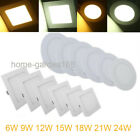 White Slim Dimmable Indoor 6W 9W 12W 15W 24W LED Panel Ceiling Fixtures Light US