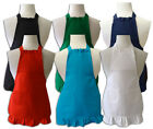 SET OF PERSONALIZED MOTHER DAUGHTER MATCHING RUFFLED APRONS TURQUOISE BLACK RED