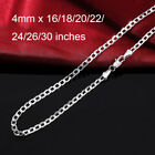 4mm MENS Boys Chain Silver Tone Curb Link Stainless Steel Necklace 16-30''