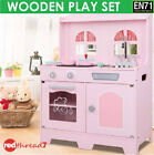 Kids Wooden Kitchen Cooking Baking Pink Set Toys Children Pretend Toddlers Play