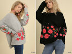 Cozy UMGEE Floral Embroidered Sweater Long Sleeve Loose Oversized Boho Gypsy