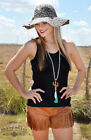 Crazy Train Any Fringe Of Mine Fringe Faux Suede Shorts Cowgirl Small-3XL Rust