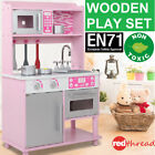 Kids Wooden Kitchen Cooking Bake Pink Set Toys Children Pretend Toddlers Play
