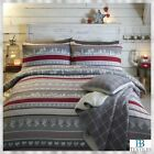 Fusion 100% Brushed Cotton Nordic Christmas Stripes and Bands Duvet Cover Set