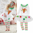 2Pcs/set Kids Girls CHRISTMAS Deer Shirt + Tutu Dress Stripe Legging Outfits New