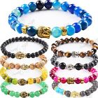 8mm Beads 7 Chakra buddha Gemstone Healing Reiki Prayer Beaded Bracelet UK Stock