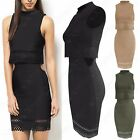 LADIES DOUBLE LAYER DRESS LASER CUT OUT WAIST WOMENS MIDI BODYCON 2in1 CROP TOP