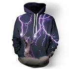 Unisex Creativity Graphic Lightning Cat Couples 3D Hoodie Pullover Tops