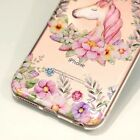 For iPhone 7/7+/8/8PLUS/X - Clear TPU Rubber Case Cover Unicorn Flower Wreath