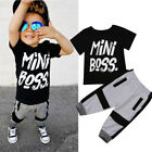 US Toddler Kids Baby Boy Cotton T-shirt Tops Harem Pants Out