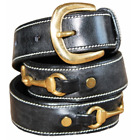 "Henri de Rivel Double Snaffle Bit Leather Belt Brass Hardware 1.25"" Wide"