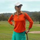 Women's Golf Shirt - 3/4 length Sleeves, Orange with Adventura Print