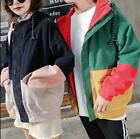 Unisex Lovers Loose Mixed Color Casual Jacket Hip Length Vogue Hooded Coat