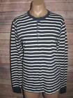 J. Crew Mens Size Small Navy Blue White Striped Vintage Cotton Henley T-Shirt