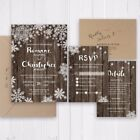 Winter snow wedding invitation Rustic barn wood snowflakes invite - SC333(120lb)