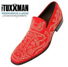New Mens Red Dress Shoe Genuine Real Suede Slip On Gold Stud Loafers TUXXMAN Tux