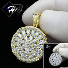 MEN 925 STERLING SILVER LAB DIAMOND ICED BLING SILVER/GOLD ROUND PENDANT*SP181