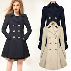 Womens Slim Double Breasted Trench Coat Jacket Ladies Long Lapel Outwear Peacoat