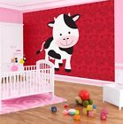 Photo Wallpaper PET COW RED KIDS BEDROOM  DECORATIVE HUGE Wall Mural (10984VE)