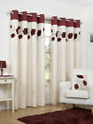 Ready Made Cream + Red Ring Top Eyelet Poppy Floral Printed Design Curtains