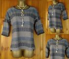 NEW EX WHITE STUFF GREY BLUE IVORY ABSTRACT DITSY PRINT COTTON TUNIC TOP UK8-18