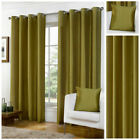 Faux Silk Ready Made Lined Green Eyelet Ring Top Curtains Lined